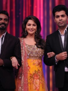 Madhuri Dixit with fellow judges  Remo Dsouza and Karan Johar