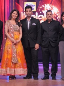 Madhuri Dixit with fellow judges  Remo Dsouza and Karan Johar, Raj Nayak - CEO, COLORS_ and Myleeta Aga - BBC  Worldwide Productions India